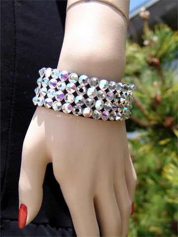 FBB Black Stretch 4 Row Fully Stoned Bangle: Aurora Borealis & Clear (size 30' stones)