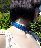 FNC Nude Stretch 4 Row Fully Stoned Choker: Capri Blue (size 30' stones)