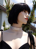 FNC Nude Stretch 4 Row Fully Stoned Choker: Clear (size 30' stones)
