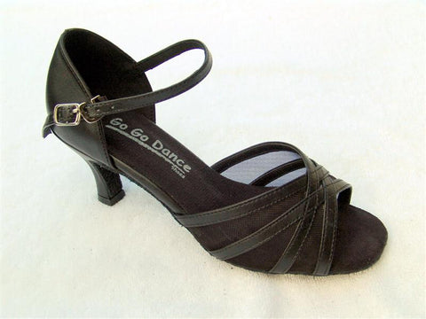 GO 4072 Black Simulated Leather / Mesh Open Toe Shoe