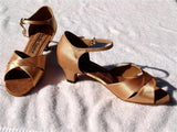 GO 7022 Tan Satin Latin Shoe