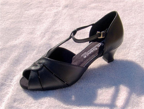 GO 7050 Black Simulated Leather T - Strap Latin Shoe