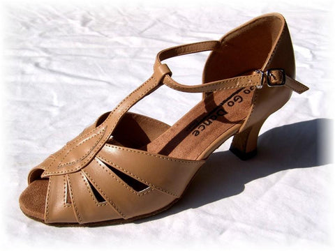 GO 9551 Tan Simulated Leather T - Strap Latin Shoe