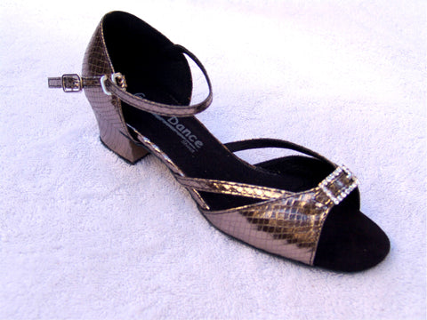 GO 3069 Pewter Simulated Leather Ankle Strap Latin Shoe
