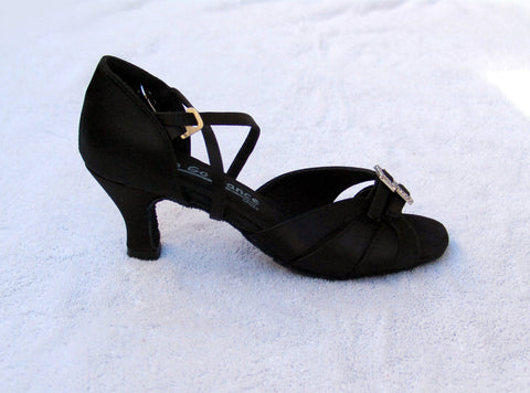 GO 9520 Black Satin X - Strap Adjustable Latin Shoe