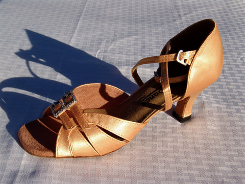 GO 9521 Tan Satin X - Strap Latin Shoe