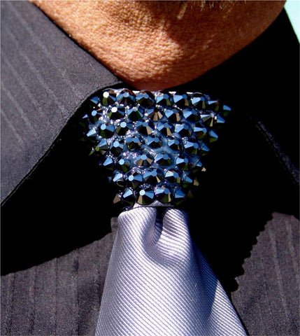 Hematite Swarovski Crystal Stoned Men's Grey Zipper Tie (size 30' stones)