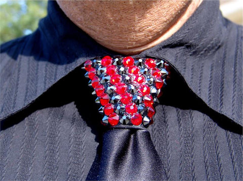 Hematite & Light Siam Swarovski Crystal Stoned Men's Black Zipper Tie (size 30' stones)
