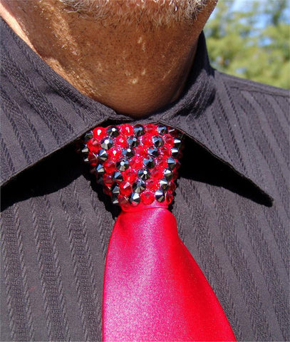 Light Siam & Hematite Swarovski Crystal Stoned Men's Red Zipper Tie (size 30' stones)