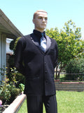 American Smooth Long Black Vest with Satin Lapels