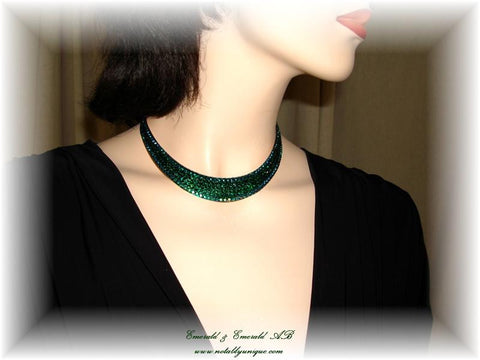 Necklace 008 Pave' Emerald and Emerald AB