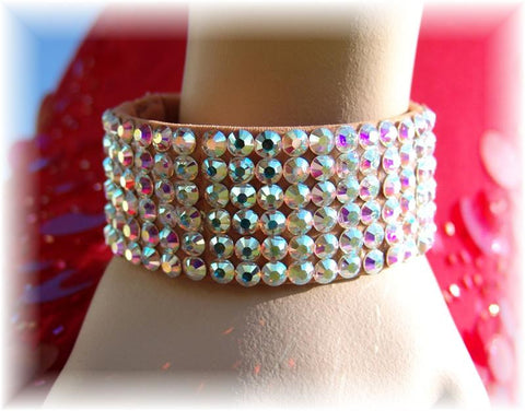 NUG B-2 Nude Stretch Fully Stoned 6 Row Bangle: Aurora Borealis (size 20' stones)