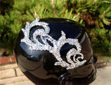 NUG T10106 Clear Swarovski Stoned Venice Black Lace Appliqué