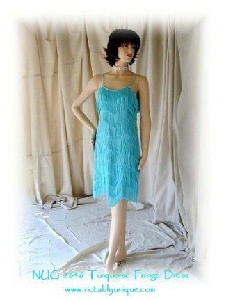 NUG 2646 Turquoise Fringe Dress