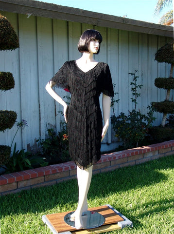 NUG 2647 Black Fringe Dress