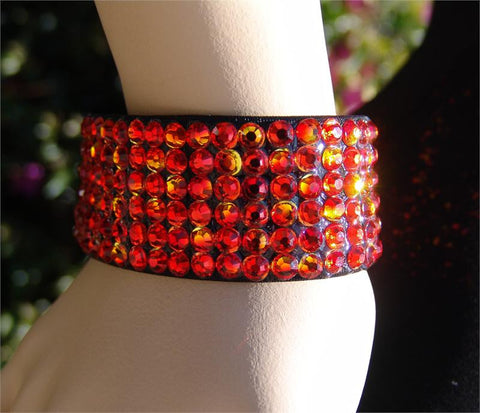 NUG B-2 Black Stretch 6 Row Fully Stoned Bangle: Hyacinth & Fire Opal (alternated pattern size 20' stones)