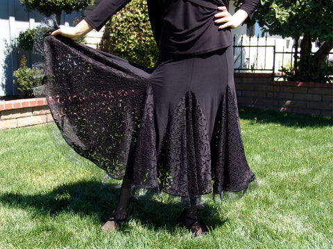 NUG 00396 Black Stretch Lace American Smooth Skirt