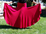 NUG 0065 Red Full Circle Standard Godet Skirt