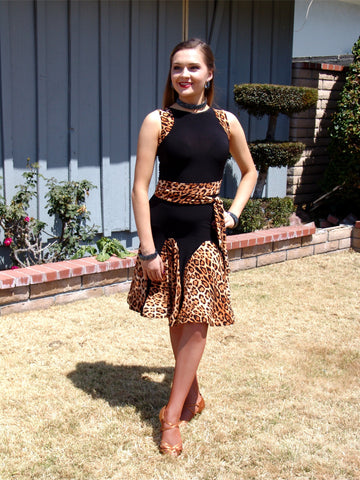 NUG 00694 Black & Leopard Print Panel Latin Dress