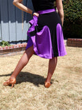 NUG 00694 Black & Royal Purple Panel Latin Dress