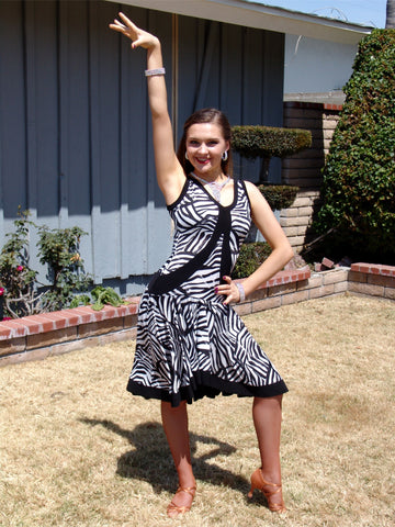 NUG 00755 Black and White Zebra Print Pattern Latin Dress