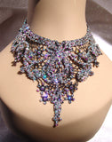 NUG 68760 Black Lace Necklace: Aurora Borealis & Clear Swarovski Crystal