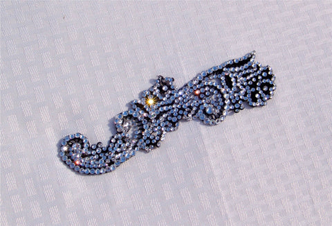 NUG T09425 Clear Swarovski Stoned Black Venice Lace Appliqué