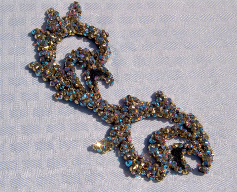 NUG T10106 Aurum & Light Colorado Topaz AB Swarovski Stoned Venice Black Lace Appliqué