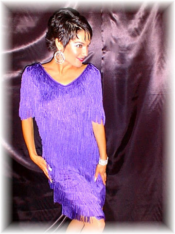 NUG 2647 Purple Fringe Dress