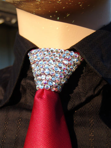 Aurora Borealis & Clear Swarovski Crystal Stoned Men's Red Zipper Tie (size 20' stones).