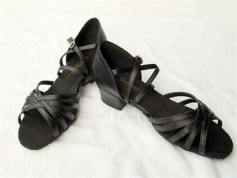 Stephanie Dance Shoes 16003 - 11X Black Leather / Two Way Strap