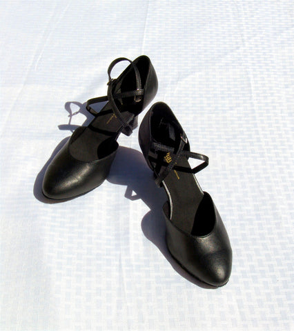 Stephanie Dance Shoes 15006 - 11 Black Leather X - Strap American Smooth Shoe