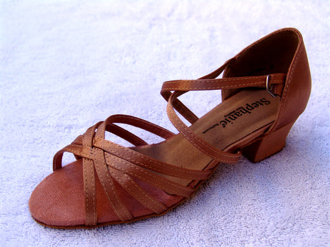 STEPHANIE DANCE SHOES 16003 - 65 X TAN LEATHER / TWO WAY STRAP