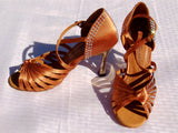 Stephanie Crystal Collection 2090 - 45 Dark Tan Satin X-Strap Latin Shoe