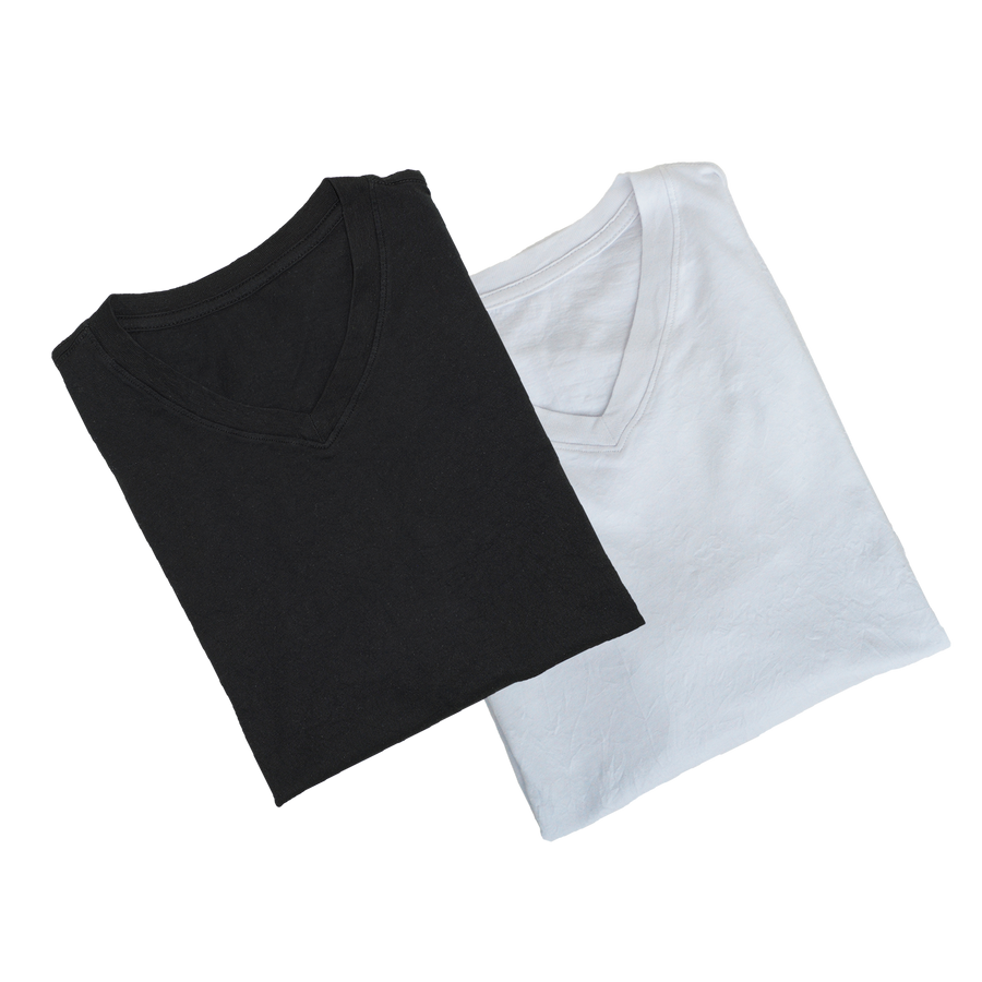 V-Neck Crinkle 2-Pack Jet Black & White