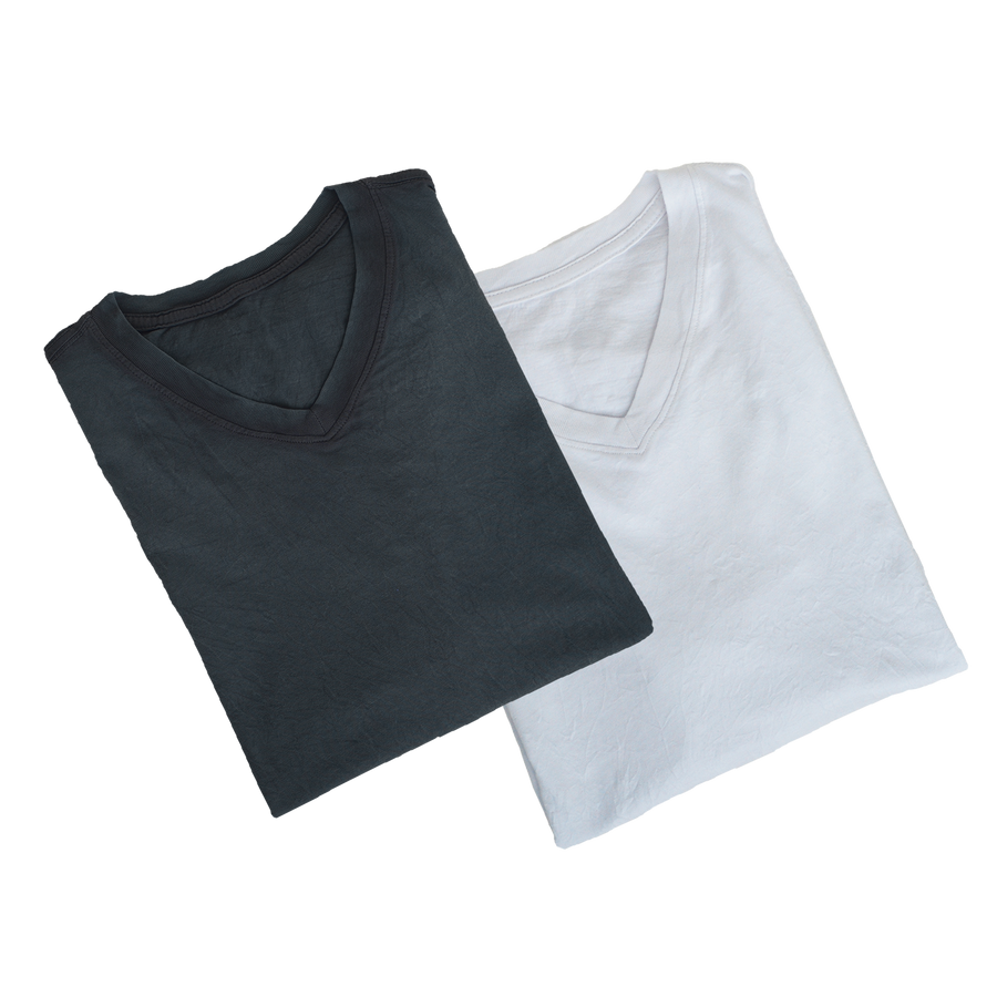 V-Neck Crinkle 2-Pack Dark Charcoal & White