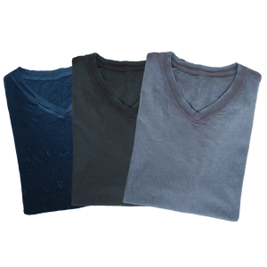 V-Neck Crinkle 3-Pack Navy, Charcoal, Silver