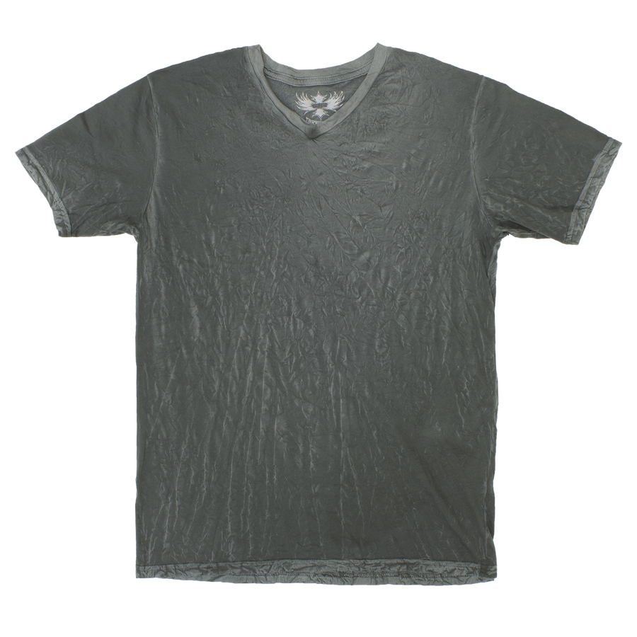 DARK GREEN V-NECK CRINKLE TEE