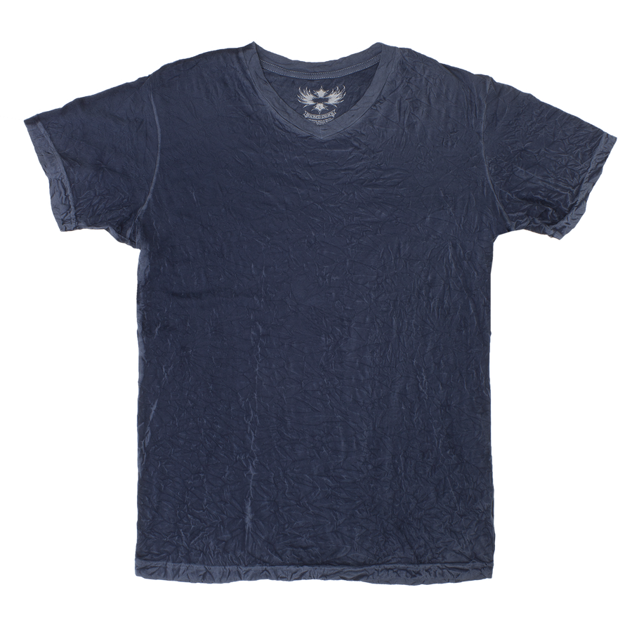 DARK NAVY V-NECK CRINKLE TEE