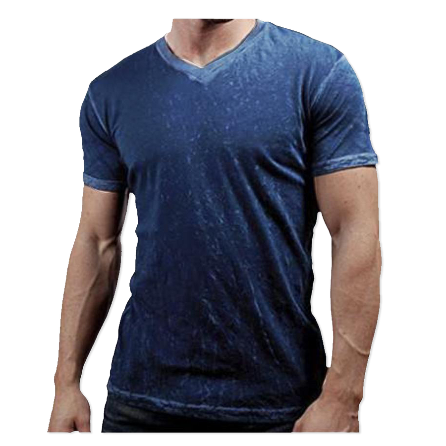 NAVY MEDIUM TO HEAVY CRINKLE V-NECK TEE