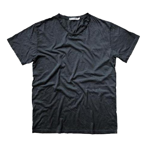 STEEL GREY DEUCE V-NECK CRINKLE TEE: SIZE SMALL ONLY