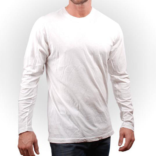 OPTIC WHITE CRINKLE CREW LONG SLEEVE-SIZE MEDIUM ONLY