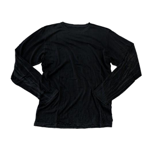 JET BLACK (LIGHT) CRINKLE CREW LONG SLEEVE