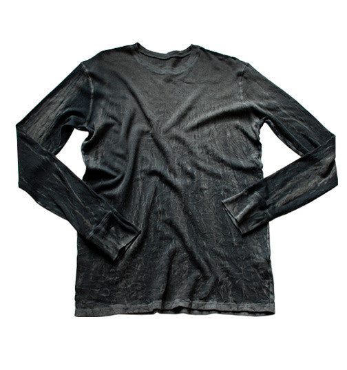 CHARCOAL CRINKLE THERMAL LONG SLEEVE: Size S & M ONLY