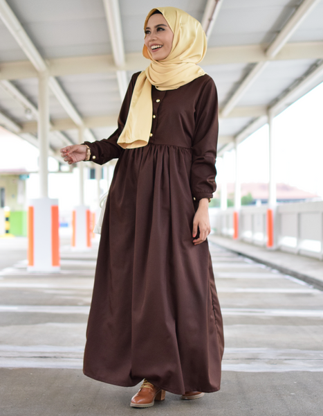 Babydoll Maxi Dress in Chocolate