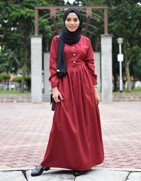 Babydoll Maxi Dress in Maroon