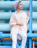 Batwing High Low Top in Peach