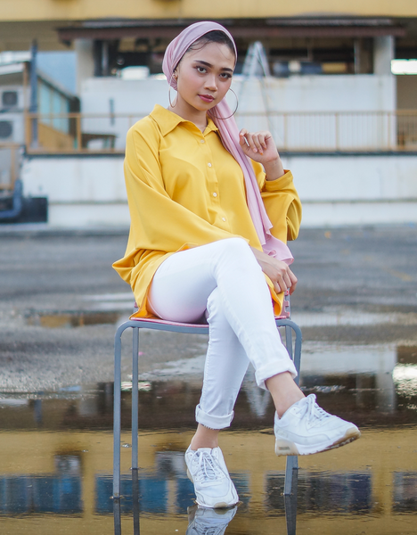 Batwing High Low Top in Mustard