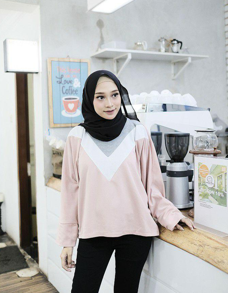 Batwing V-Colored Top in Pink