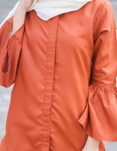 Load image into Gallery viewer, Bell Sleeve High Low Shirt in Terracotta